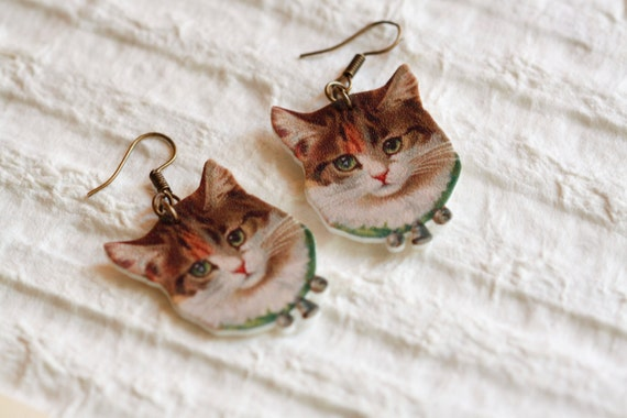 Brown Cat / Kitten Dangle earrings