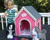 """Large Pink dog house 18"""" doll pets American Girl"""