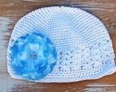 Winter Snow Flower Beanie- Crochet hat