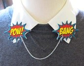 Collar Comic Book Geekery Gift Double Brooch Clip Word Bubbles Pow and Boom Pins