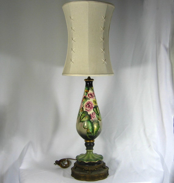 Table Lamp Vintage Hand Painted Large Porcelain By Judislamps