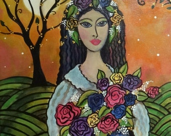 Mexican Dawn 11 x 14  Acrylic Painting on Canvas by Lesli Pringle Burke