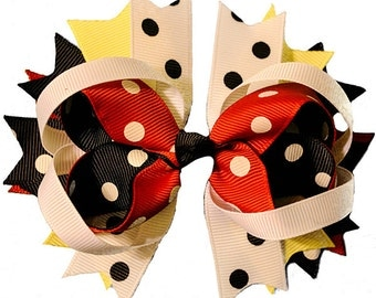Red Yellow Black Polka Dot Minnie mouse inspired Hair Bow Grossgrain Loopy Boutique Handmade girls 4""