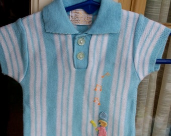 Vintage 1960's - Size 0-3M - Novelty Knit Musical Baby Blue and White Striped Short-sleeve Sweater