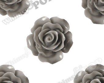 Large Detailed Gray Rose Deco Resin Cabochons, Flower Shaped, 20mm Rose Cabochons (R1-014)