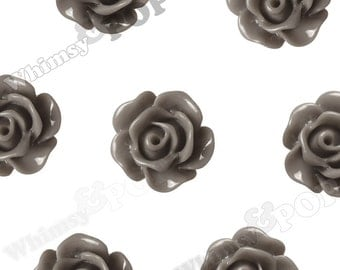 10mm - Gray Small Detailed Flower Rose Resin Cabochons, Rose Shaped, 10mm Rose Cabochons, 10mm x 4mm (R1-076)