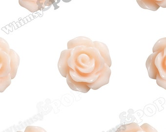 10mm - Shabby Chic Peach Small Detailed Flower Rose Resin Cabochons, Rose Shaped, 10mm Rose Cabochons, 10mm x 4mm (R1-076)