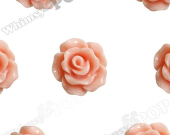 10mm - Coral Small Detailed Flower Rose Resin Cabochons, Rose Shaped, 10mm Rose Cabochons, 10mm x 4mm (R1-077)