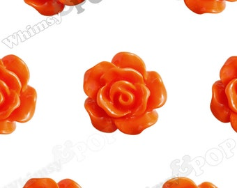 10mm - Mandarin Orange Small Detailed Flower Rose Resin Cabochons, Rose Shaped, 10mm Rose Cabochons, 10mm x 4mm (R1-085)