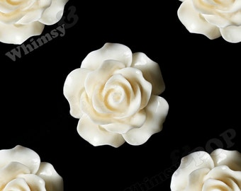Large Detailed Cream Ivory Rose Deco Resin Cabochons, Flower Shaped, 20mm Rose Cabochons (R1-027)