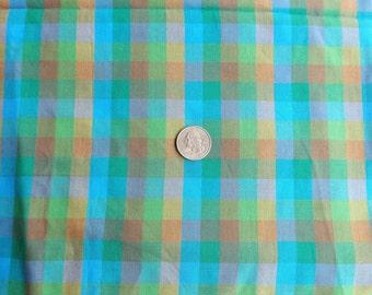 Plaid Cotton Fabric Bright Greens Blue Yellow Woven Plaid Yardage