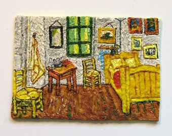 Vincent Van Goghs Bedroom at Arles Polymer Clay Painting