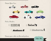 Vintage Race Car Birthday Party Package, Baby Shower Decorations