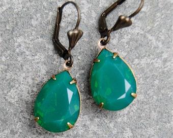 Jade Green Opal Earrings Swarovski Crystal Jade Earrings Green Opal Pear Dangle Drop Earrings Duchess