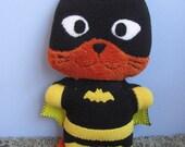 Black Batkitty, Batgirl cat, the Comic Cat Superhero, stuffed animal plush toy, handsewn, ecofriendly