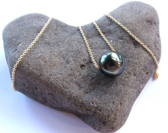 Tahitian Pearl Necklace, Fine Gold Chain, Floating, Genuine Pearls, Long Necklace, Hawaii Beach Jewelry, Elegant Gift Idea, Simple Design