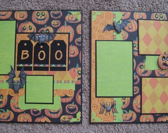 Scrapbook Layout - Sale - 20% Off - Jack-O-Lantern Fun Halloween 12 x 12 Two Page