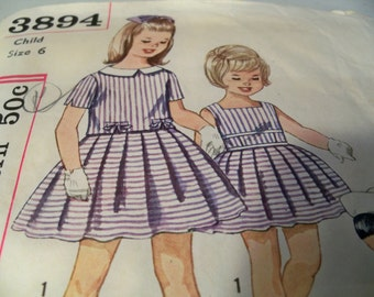 1961 Simplicity 3894 Size 6 Girls One Piece Dress and Jacket Sewing Pattern Supply Girls SunDress Girls Jacket Pattern Mod 60s Overblouse c