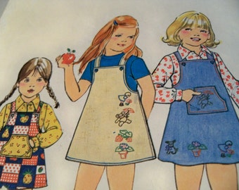 1976 Simplicity 7605 Size 6 Girls Jumper and Shirt Transfers for Embroidery Sewing Pattern Supply Girls Jumper Pattern Girls Shirt ff