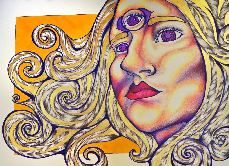 Third Eye Self-Portrait Psychedelic Art by PaintMyWorldRainbow