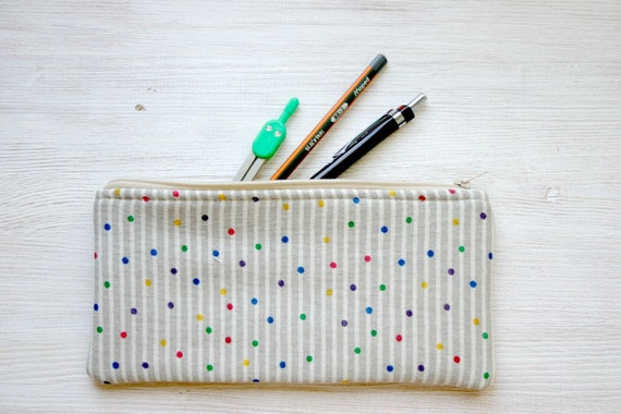 polka dot Pencil  pouch pencil case Back to school Cotton / linen  zakka minimal cute