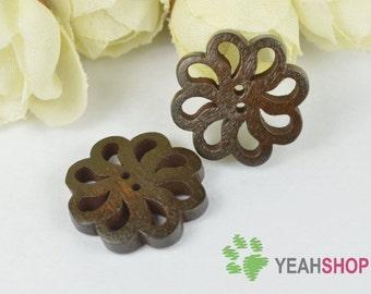 Floral Wooden Buttons - 20mm - 10 PCS (WBT20-5)