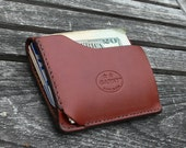 GARNY No.9 -  Card and  dollar bill wallet  - Minimalist  Leather Wallet - chestnut brown leather -al