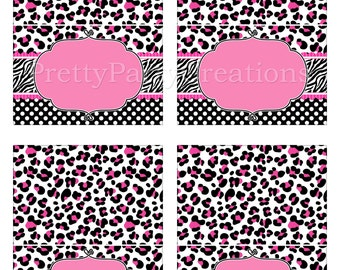 PINK and BLACK DIVA editable tent cards - you print - Instant Download