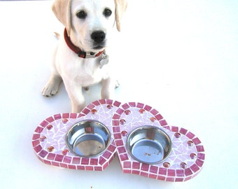 Two Hearts Diner, Cat Feeder, Small Dog Bowls, Couture Dog, Raised Dog Feeder, Elevated Cat Bowls