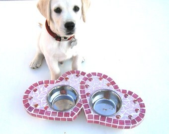Two Hearts Diner, cat or dog feeder, small dog or cat bowls