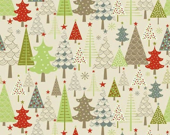 Fabric 1 Yard Merry Little Christmas TREES Winter Wonderland Grey Gray taupe Snow Riley Blake c3371 Taupe Quilting Sewing Holiday Winter