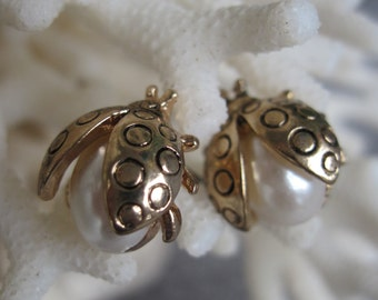 Buzzing and Adorable Gold and Pearl Lady Bug Earrings