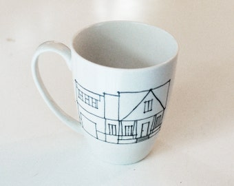 custom house coffee mug  - hand drawn home illustration - architectural line drawing - housewarming gift - wedding present