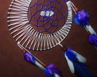 Dream Catcher- Moon Motions Signature Silver Ringed Dream Catcher- RADIANT MOON with Quartz Crystal- Made to Order