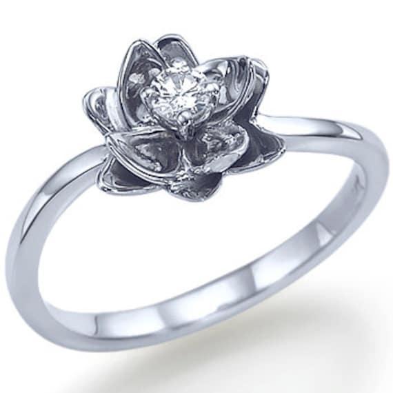 flower design shape engagement ring 14k by