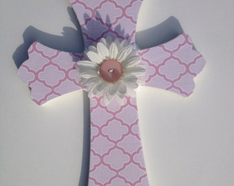 Pink Wooden Cross with flower