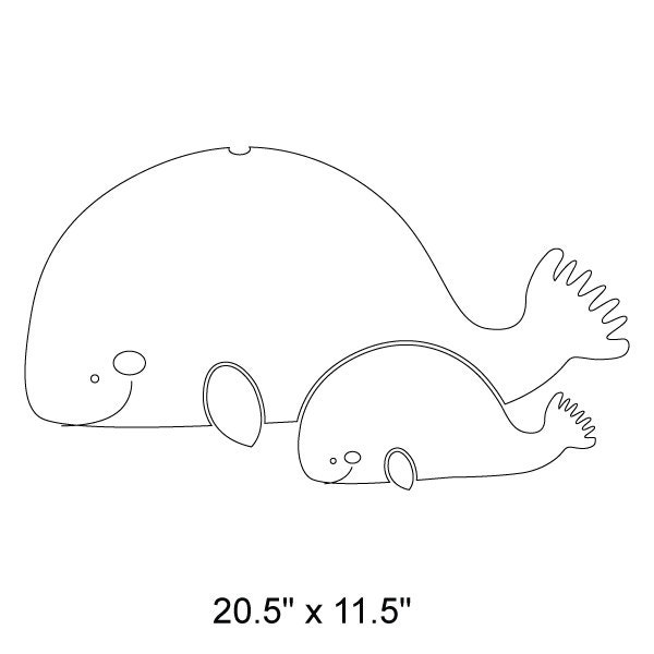 Whales wall stencil for painting kids or baby room mural - Wall whale xl 20 swimming pool wall brush ...