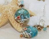 Ocean Wave Earrings~Beach Wave Lampwork Earrings~Ocean Jewelry~Summer~Handmade Beach Jewelry~Beach Fashion