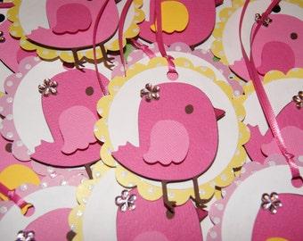 Pink Bird Favor Tags