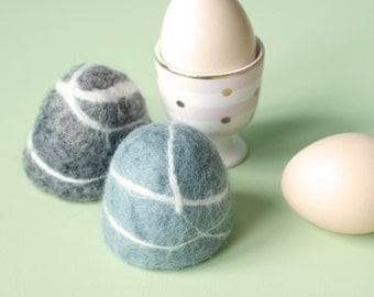 Handmade Felt Wool Egg Cosy for Easter Holiday - Rock Pebbles
