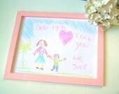 Magnetic Wood Kids Art Frame - YOU choose SIZE and COLOR - Pink Handcrafted Photo Frame - Refrigerator, Magnet Board Office Filing Cabinet