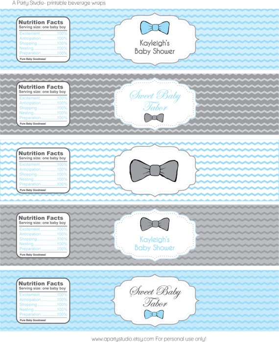 Items similar to Modern Chic Bow Tie Baby Shower- Water ...