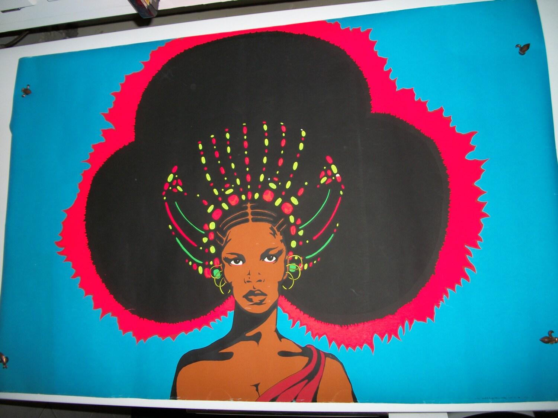 SALE Vintage Blacklight Poster Afro Queen by KathysCornerShop