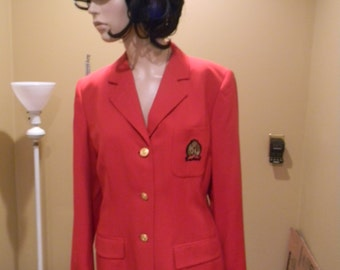 Tommy Hilfiger. Military badge  .Misses Blazer,1980S Tomato Red .Nautical Military style ..Gold Lion Herladic Buttons SILK lined