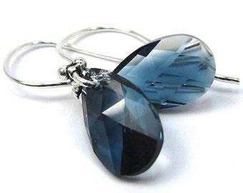 Crystal Montana Blue Blend Teardrop Swarovski Crystal Earrings, New Swarovski Color for Spring 2014