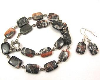 Grey Red Line Marble Gemstone Necklace and Earring Set, Black Diamond Swarovski Crystals