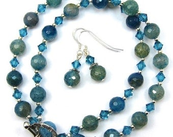 Teal Blue Agate Gemstone Necklace Earring Combo, Indicolite  Swarovski Crystals