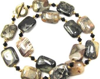 Amazing Jasper Gemstone Necklace and Earring Set, Jet Black Swarovski Crystals