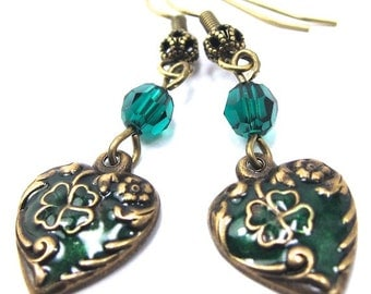 Enamel Heart Shamrock Clover Earrings, Antique Gold Finish, Emerald Swarovski Crystals. St Patricks Day