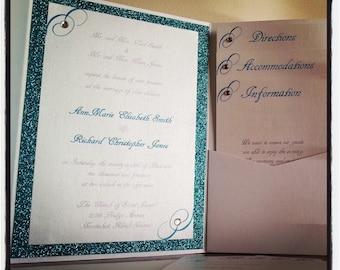 Teal and White Sparkle Metallic Pocket Fold Wedding Invitations